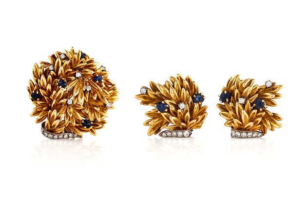 Vintage Earrings And Brooch Set Front View