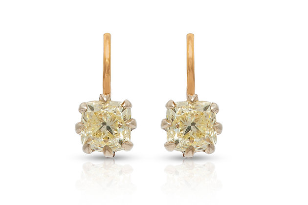 Victorian Diamond Earrings Front View
