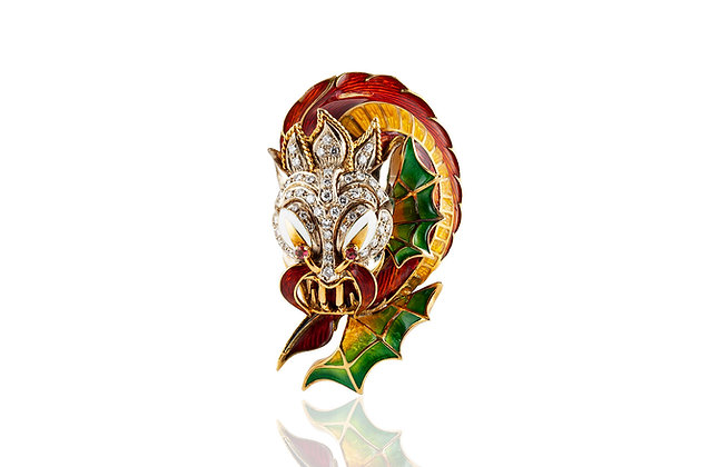 Vintage Gold And Enamel Dragon Head Brooch Front View