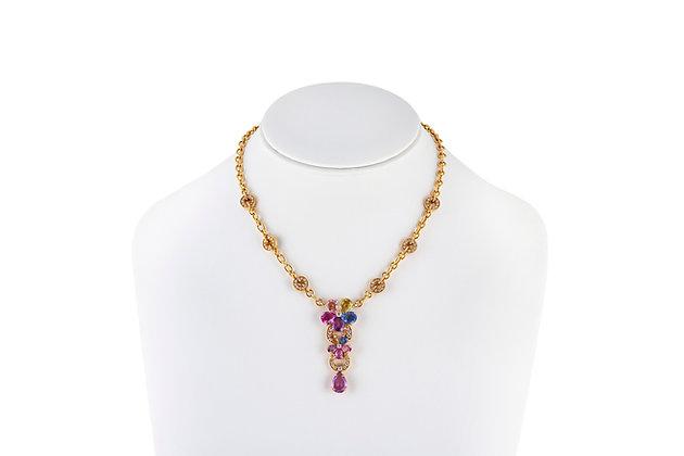 Bvlgari Diamond Sapphire Flower Necklace Front View