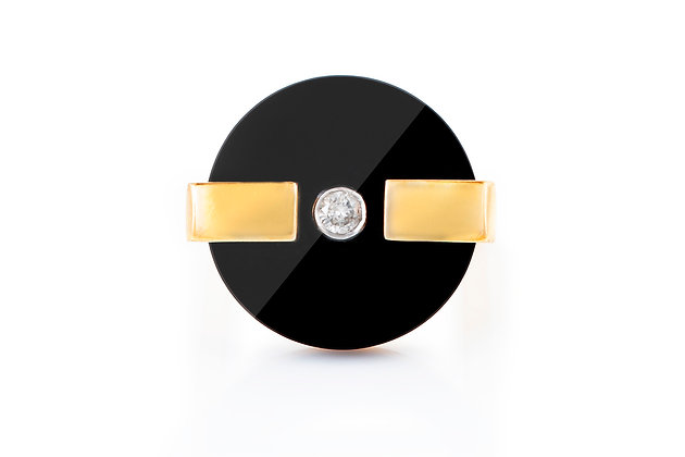 Onyx And Diamond Dinner Ring