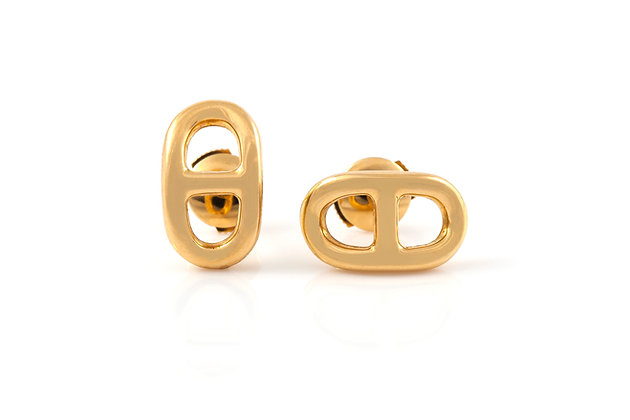 Hermès Chaine d'Ancre Gold Stud Earrings front view