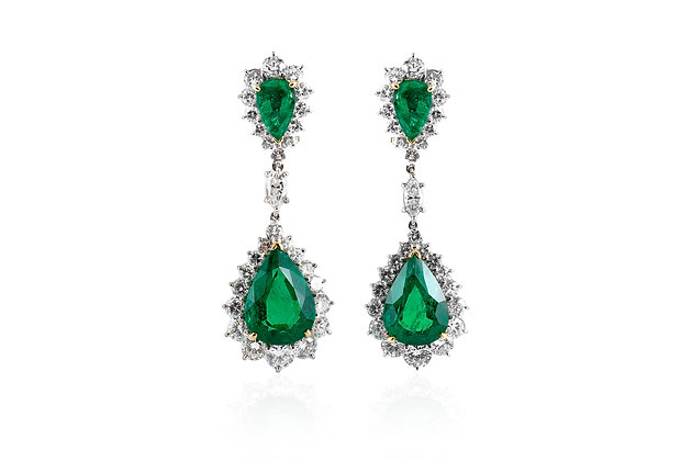 Diamond And Emerald Drop Earrings Front View