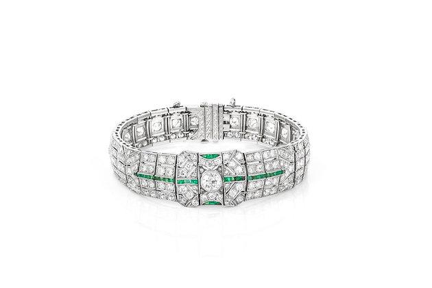 Art Deco Diamond & Emerald Bracelet