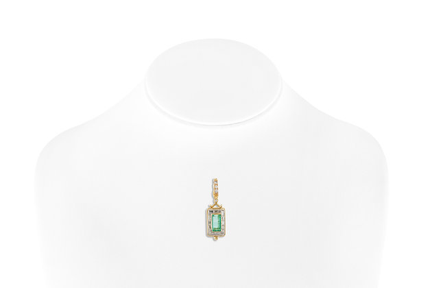 Tourmaline Pendant with Diamonds on bust