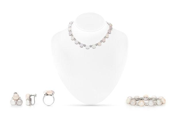 Pearl Diamond Necklace Bracelet Ring Earrings Set View