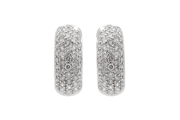 14K White Gold and Diamond Huggie Hoop Earrings