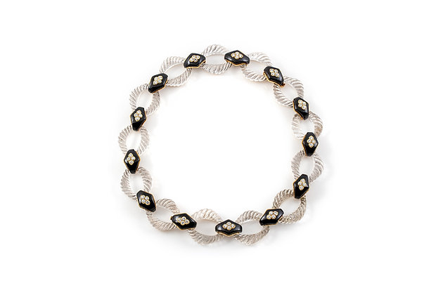 Boucheron Rock-Crystal Onyx Link Necklace overall