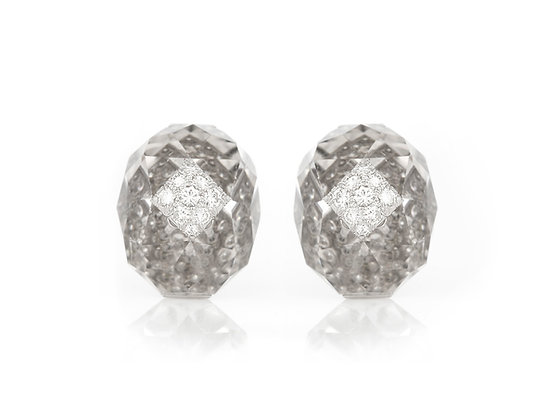 David Webb Rock Crystal and Diamond Earclips front