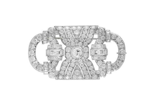 1930s Platinum Brooch with Diamonds front