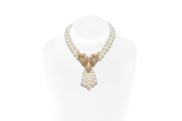 Pearl Diamond Necklace Pendant On Neck View