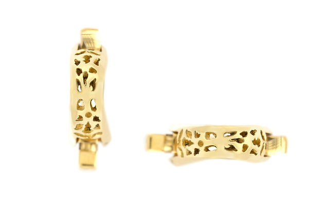 Curved Gold Cufflinks with Holes front