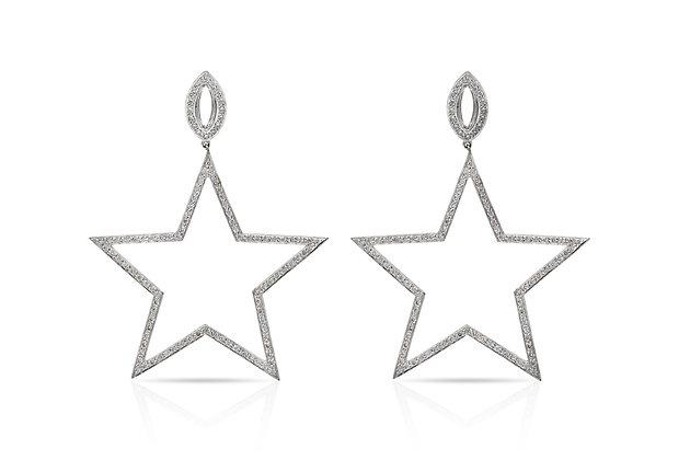 Diamond Star Earrings Front View