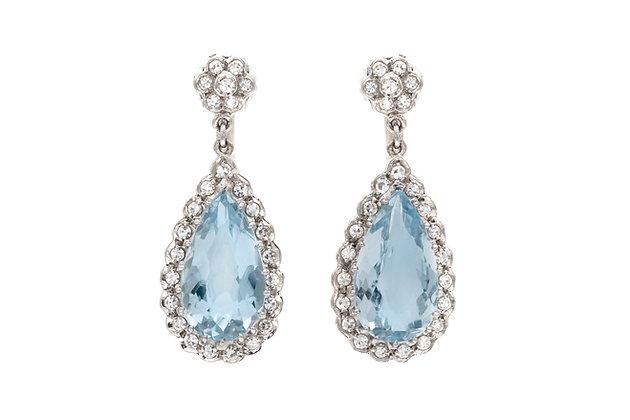 10.00 Carat Aquamarine Drop Earrings with Diamonds
