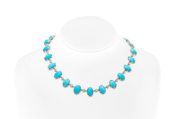 Turquoise Diamond Necklace On Neck View