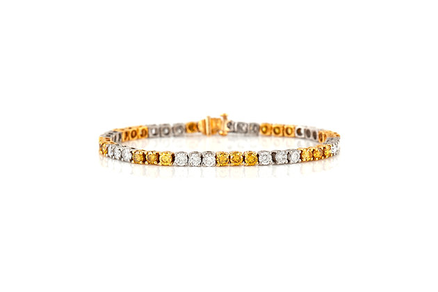 Oscar Heyman Fancy Yellow And White Diamond Bracelet Front View