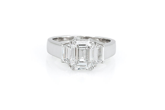 2.01 Carat Emerald Cut Diamond Engagement Ring