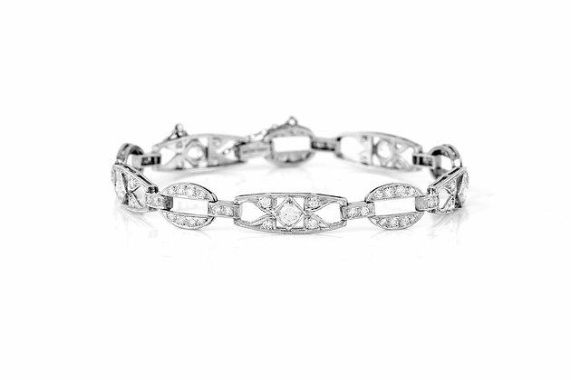 Antique Art Deco Diamond Bracelet Front View