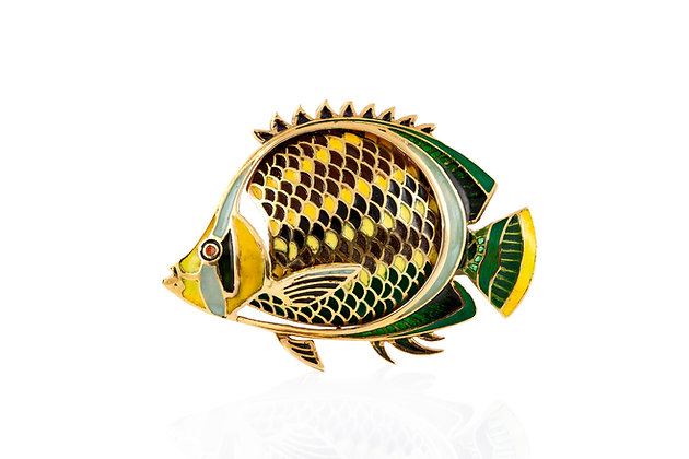 Vintage Fish Brooch Front View