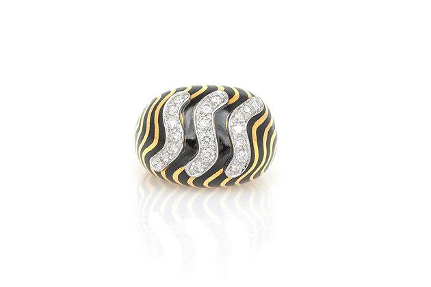 David Webb Patterned Black Enamel Ring top view