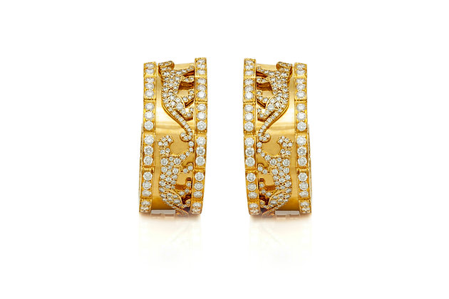 Cartier Panther Diamond Earrings Front View