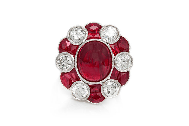 Ruby And Diamond Flower Shape Ring Front View