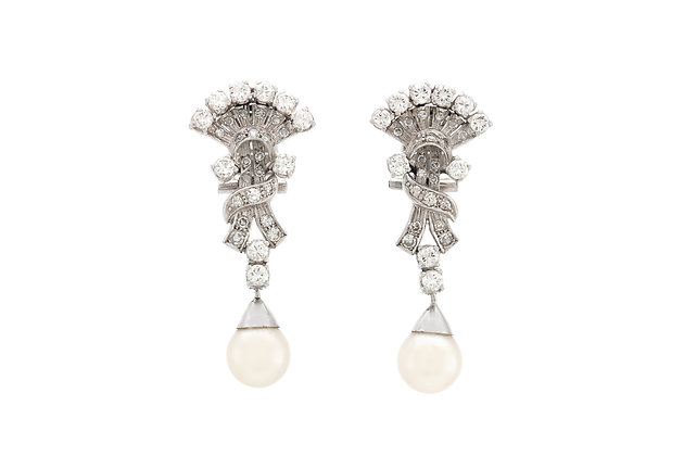 2.30 Carat Diamonds with Pearls Platinum Drop Earrings front view