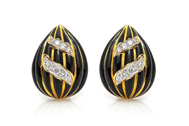 David Webb Onyx Diamond Earrings Front View