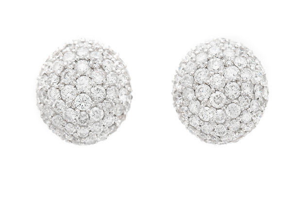 7.00 Carat Pave Diamond Earrings front view