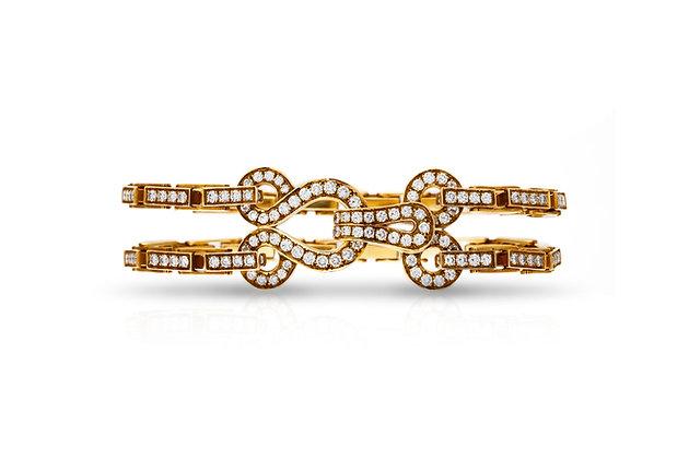 Cartier Diamond Double Row Agrafe Bracelet Front View