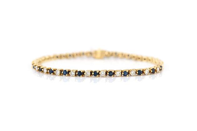 14K Gold Sapphire and Diamond Three Prong Tennis Bracelet