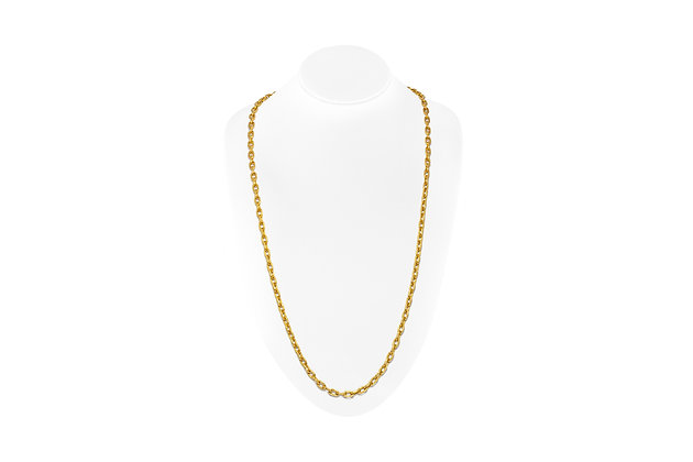 Hammered Link Gold Chain On Neck View