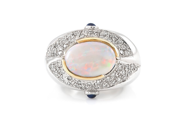 Opal Platinum Ring with Diamonds and Sapphires top