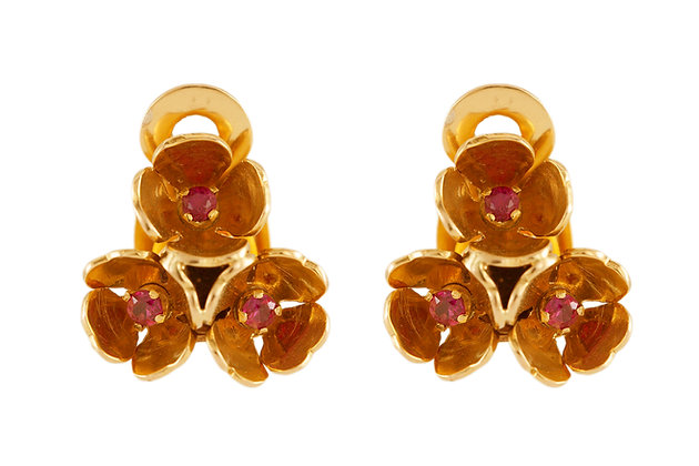Ruby Floral Gold Clip-On Earrings front