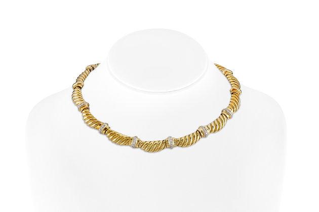 18 Karat Yellow Gold Choker with Diamonds front