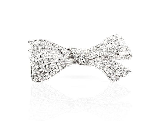 Art Deco Diamond Bow Brooch front