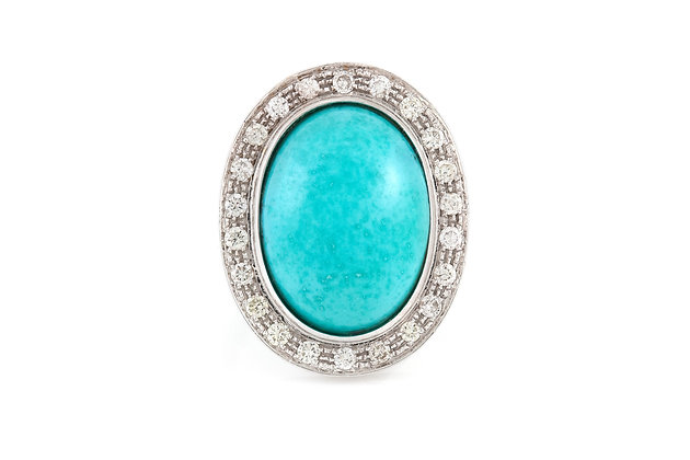 Turquoise and Diamond Ring top view