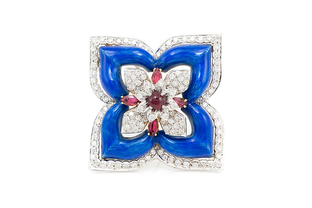 Blue Enamel Flower Diamond and Ruby Pin Front View