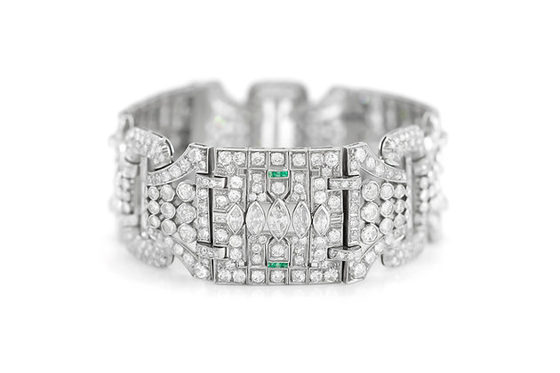 1930's Diamond Bracelet with Emerald