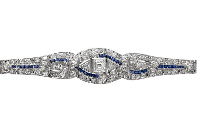 Art Deco Platinum Sapphire and Diamond Bracelet close view