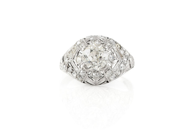 1.50 Carat Antique Art Deco Engagement Ring Top