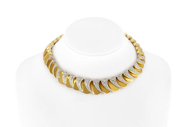 1980s Gold Diamond Choker Necklace front