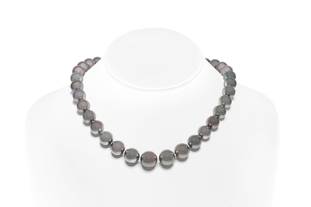 South Sea Black Pearl Necklace On Neck View