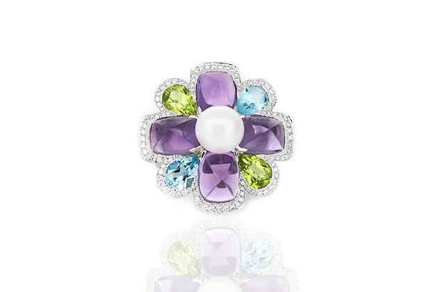 Chanel Multi Gem Flower Ring top view
