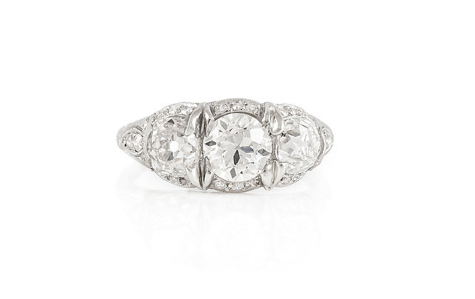 Three Stone Art Deco Ring Front View