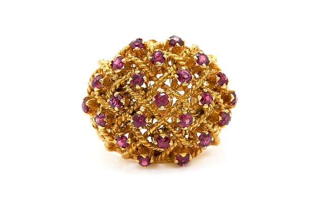 18k Gold Caged Design Ring with Rubies