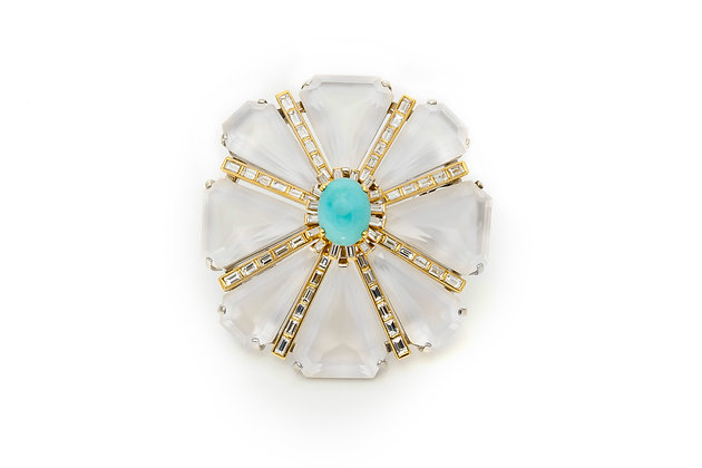 Flower Brooch with Changeable Piece Front View