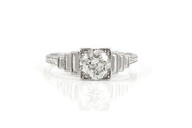 1.00 Antique Art Deco Engagement Ring Top