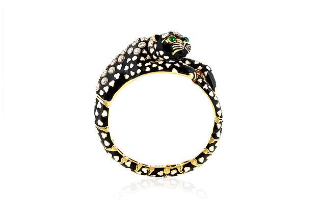 David Webb Black And White Enamel Leopard Bracelet Front View