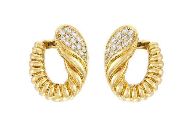 Tallarico 18 K Gold Diamond Scalloped Shrimp Hoop Earrings
